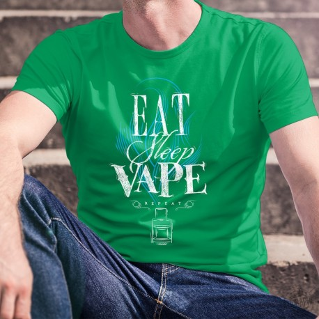 Eat, Sleep, Vape, repeat ✪ e-Cigarette ✪ T-Shirt coton homme, manger, dormir, vapoter, répéter