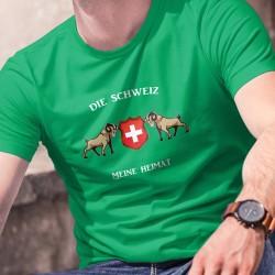 Die Schweiz, meine Heimat ✚ Alpensteinbock ✚ Herren-Baumwoll-T-Shirt, zwei Steinböcken rund um das Schweizer Abzeichen