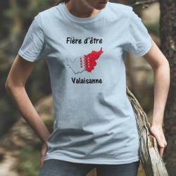 Fière d'être Valaisanne ★ T-Shirt décontracté dame - frontières cantonales aux couleurs du Valais