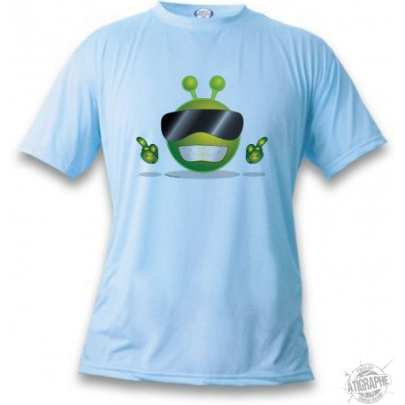 Women's or Mens funny Alien Smiley T-Shirt - Cool Alien, Blizzard Blue