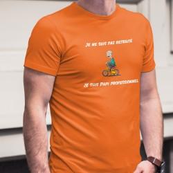 Je ne suis pas retraité, je suis Papi professionnel ✪ T-Shirt coton homme, papi joyeux sur un vélo d'enfant