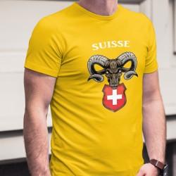 Suisse ✚ Bouquetin des Alpes ✚ T-Shirt coton homme, armoiries de la Suisse surmonté de la tête d'un Bouquetin des Alpes