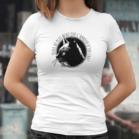 Quoi de plus beau que l'amour d'un chat ❤ portrait de chat ❤ T-Shirt dame, portrait d'un magnifique chat