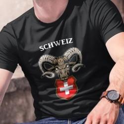 Schweiz ✚ Alpensteinbock ✚ Herren-Baumwoll-T-Shirt, Wappen der Schweiz mit dem Kopf eines entschlossenen Alpensteinbocks