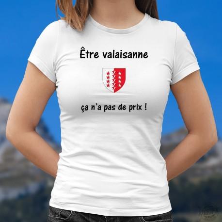 Etre valaisanne ★ ça n'a pas de prix ! ★ écusson Valaisan ❤ T-Shirt mode dame inspirée de la publicité Mastercard