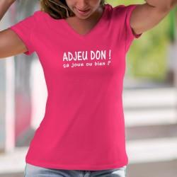 """Adjeu don ! ça joue ou bien ? ★ T-Shirt coton dame, phrase culte suisse romande à traduire par """"Salut, comment ça va ?"""""""