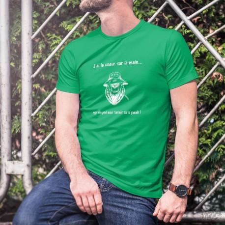 Men's cotton T-Shirt - J'ai le coeur sur la main ✪ ours mal léché ✪