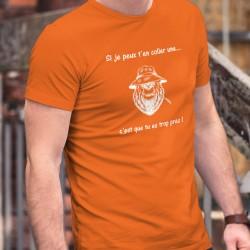 Si je peux t'en coller une... c'est que tu es trop près ✪ T-Shirt coton homme, ours mal léché portant un Panama et brin de blé
