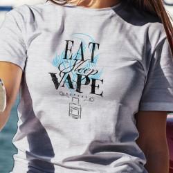 Eat, Sleep, Vape, repeat ✪ e-Cigarette ✪ T-Shirt décontracté femme (Manger, dormir, vapoter, répéter)