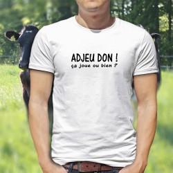"""Adjeu don ! ça joue ou bien ? ★ T-Shirt homme, phrase culte romande à traduire par """"Salut, comment ça va ?"""""""