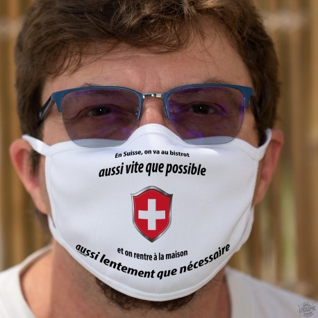 En Suisse on va au bistrot aussi vite que possible ✚ Masque de protection en coton