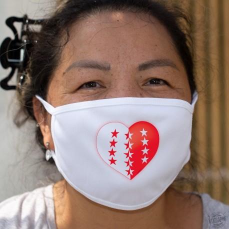 Coeur valaisan ❤ drapeau valaisan ❤ Masque de protection en coton, double couche, lavable