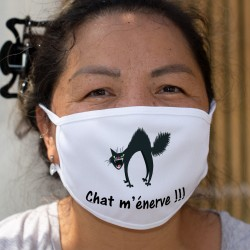 Chat m'énerve !!! ★ chat râleur ★ Masque humoristique en tissu double couche lavable. Porter un masque, parfois, ça énerve !!!