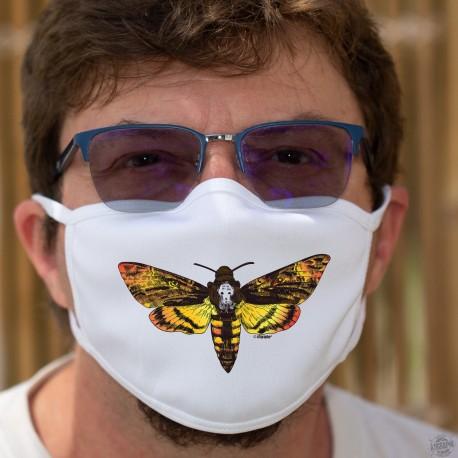 Le Silence des agneaux ✪ Hannibal Lecter ✪ Masque tissu avec le célèbre papillon à tête de mort sur la bouche