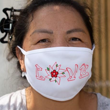 Love Swiss ✚ Edelweiss ✚ Masque en tissu double couche lavable à 60 °C