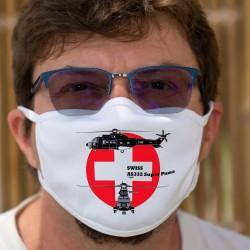 AS332 Super Puma ★ Forces aériennes suisses ★ Masque de protection double couche en tissu lavable à 60 °C
