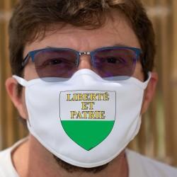Écusson vaudois ★ Liberté et Patrie ★ Masque de protection double couche en tissu lavable de nombreuses fois à 60 °C