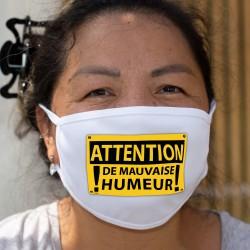 ATTENTION, de mauvaise humeur ★ panneau de danger ★ Masque en tissu double couche, lavable