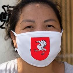 Écusson gruérien ★ Masque de protection en tissu double couche, une grue sur fond rouge représentant le district de la Gruyère