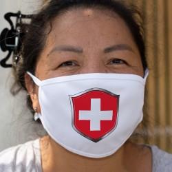 Écusson suisse ★ Masque de protection en tissu double couche, lavable à 60 °C