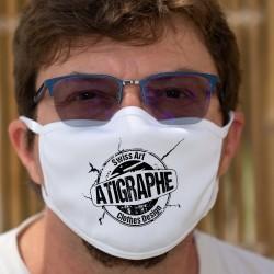 Logo aTigraphe ★ Masque de protection, tissu double couche, lavable à 60 °C, avec le logo de la petite marque de T-shirts Suisse