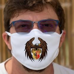 Aigle Genevois ★ Masque de protection en tissu double couche avec un aigle tenant le blason du canton de Genève entre ses serres