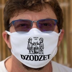 Dodzet depuis 1481 ★ Masque de protection en tissu double couche, inspiré du logo d'une bière célèbre du canton de Fribourg