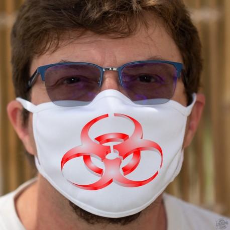 Symbole de danger biologique ★ Biohazard ★ Masque de protection en tissu double couche, lavable