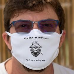 Si je peux t'en coller une, c'est que tu es trop près ✪ ours mal léché ✪ Masque en tissu, Utile pour garder la distance physique