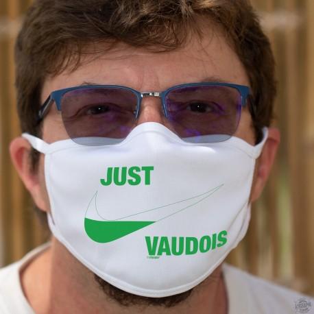 Just vaudois ★ Just do it ★ Masque en tissu double couche lavable, inspirée du logo d'une marque de vêtements