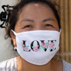 LOVE ❤ Roses aquarelle ❤ Masque de protection en tissu double couche