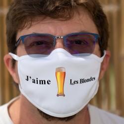 J'aime les Blondes ✪ bière ✪ Masque en tissu double couche lavable pour faciliter la prise de commandes aux terrasses de bistrot