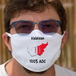 Valaisan AOC ✚ frontières cantonales valaisannes ✚ Masque en tissu double couche lavable