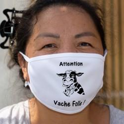 Attention Vache Folle ! ✿ vache Holstein ✿ Masque en tissu double couche