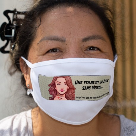 Une femme est un être sans défense ★ Pop Art Girl ★ Cotton mask