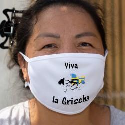 Viva la Grischa ★ Es lebe das Bündnerland ★ Zweischichtige Stoffschutzmaske, Bündner Kantonsgrenzen in Graubünden Wappen Farben
