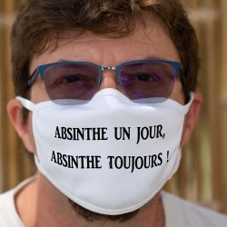 """Absinthe un jour, Absinthe toujours ★ Masque tissu double couche lavable en l'honneur de la Fée Verte appelée aussi """"La Bleue"""""""