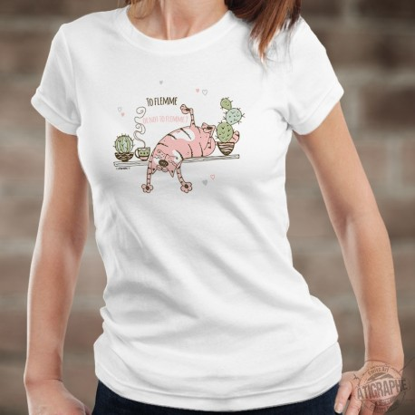 To flemme or not to flemme ? ❤ chat flemmard ❤ T-Shirt humoristique dame
