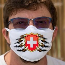 Blason Suisse tenu par des griffes ★ Masque en tissu lavable, écusson suisse