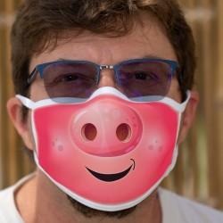Die Schnauze ★ Schweinekopf ★ Zweischichtige Schutzmaske aus Stoff