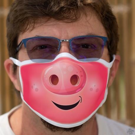 Le groin ★ tête de cochon ★ Masque humoristique en tissu lavable