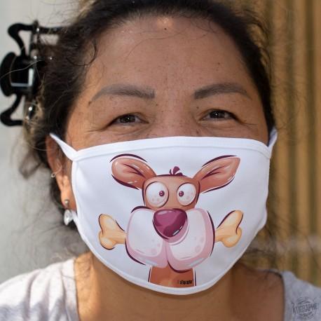 Nagen seinem Knochen ★ Hundekopf ★ Humorvolle Zweischichtige Schutzmaske aus Stoff