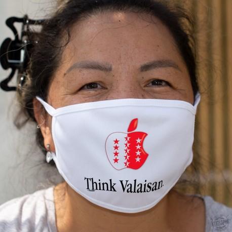 Think Valaisan ★ pense Valaisan ★ Masque en tissu lavable, inspiré d'une pub d'une marque de smartphone
