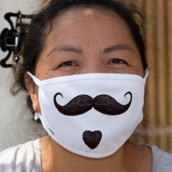 Bouc et moustache ★ hipster vintage style ★ Masque humoristique en tissu double couche lavable
