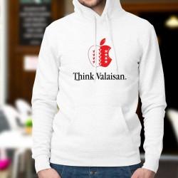 Think Valaisan ★ pomme valaisanne ★ Pull humoristique à capuche homme inspirée de la célèbre marque de smartphones