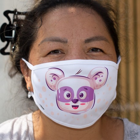 Panda joyeux ❤ Kawaii ❤ Masque en tissu lavable avec une adorable tête de panda joyeux aux couleurs pastel