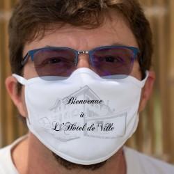 Masque en tissu double couche personnalisable pour Entreprise ou société. Exemple, l'Hôtel de Ville de la Tour de Trême