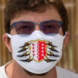 Blason Valaisan tenu par des griffes ★ Masque en tissu lavable, écusson du canton du Valais avec ses treize étoiles