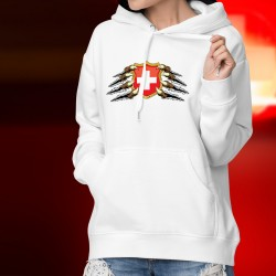Stemma svizzero tenuto da artigli ★ Maglione donna con cappuccio