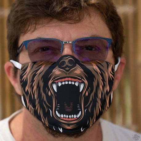 Bear Mouth ★ Humorous mask in washable double-layer fabric